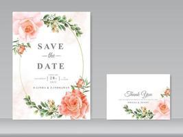beautiful wedding card set roses design vector