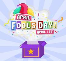 April Fool s Day font logo with Jester hat vector