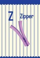 flashcard del alfabeto con la letra z para cremallera vector