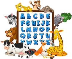A to Z Alphabet board with wild animals vector