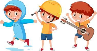 personaje de dibujos animados de un niño haciendo diferentes actividades vector