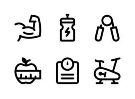 Simple Set of Fitness Related Vector Line Icons