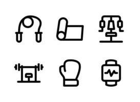 conjunto simple de iconos de líneas vectoriales relacionadas con la aptitud vector