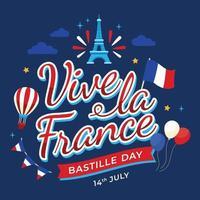 Vive La France Bastille Day Lettering vector