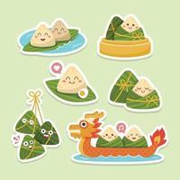 linda bola de masa de arroz chino para el festival del barco del dragón pegatinas vector