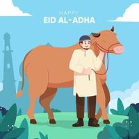 Eid Al-Adha Celebration in Flat Design vector