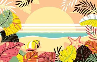 Beautiful Summer Sunset Background Concept vector