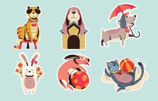 Pet Animal Sticker Collection vector