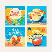 Set of Summer Greeting Cards vector