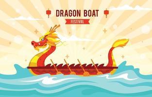 plantilla de concepto de festival de barco de dragón rojo chino vector
