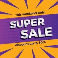 Super sale discount promotion banner template vector
