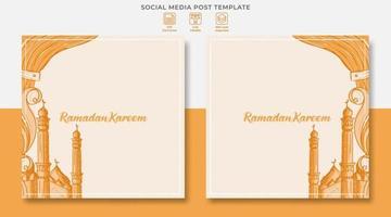 Ramadan kareem social media post design with hand drawn illustration of Islamic ornament vector