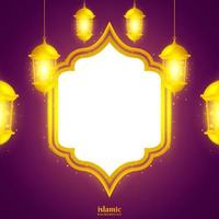 Islamic background with shiny gold lantern illustration vector