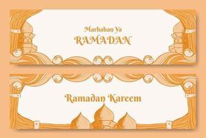 Ramadan kareem banner design with hand drawn illustration of Islamic ornament vector