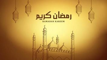 Arabic calligraphy Ramadan kareem background with mosque and lantern hand drawn illustration vector