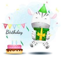 Cute happy zebra jump and hugging gift box. Happy birthday greeting Premium Vector