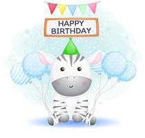 Cute baby zebra wearing party hat with balloons. Happy birthday greeting Premium Vector