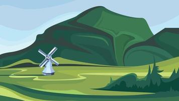 Windmill on the background of green mountains vector