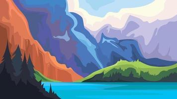 Blue lake in the mountains vector