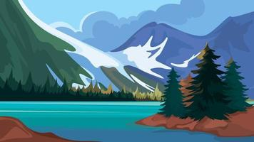 Turquoise lake in the mountains vector
