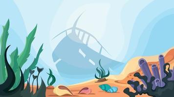 silueta de barco hundido en el fondo del océano vector