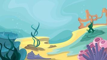 Ocean floor in cartoon style vector