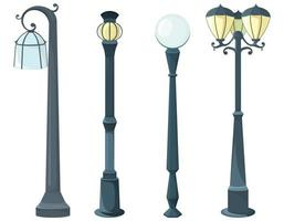 Set of different lamp posts vector