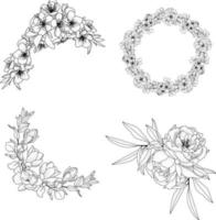 Floral Line Arts Flowers Background vector