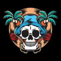Skull and palm trees vector illustration color
