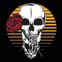 Human skull Holding rose vector
