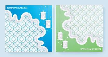 elegant ramadan kareem background in blue and green color vector