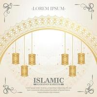 luxury white ramadan kareem banner vector