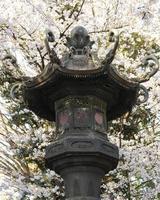 antiguo poste de luz arquitectónico japonés foto