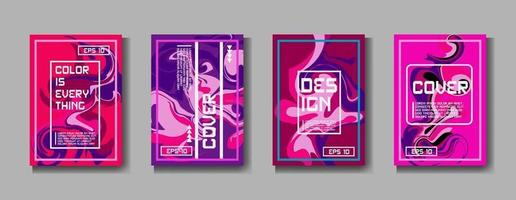 Colorful covers design set. Abstract shapes, holographic, fluid and liquid colors, trendy gradients. Futuristic vector posters.