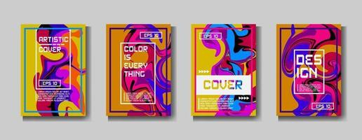 Design template cover, poster, brochure set. Retro style. A4 format. EPS 10 vector