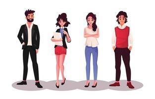 lindo conjunto de personajes de negocios vector
