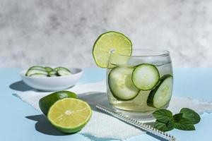 Cucumber and lime cocktail photo