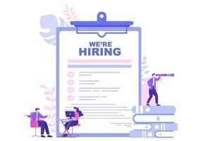 Job Hiring And Online Recruitment For web Landing Page, Banner, Background, Presentation Or Social Media. Vector Illustration