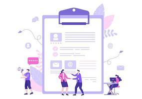 contratación de trabajo y reclutamiento en línea para la página de destino web, banner, fondo, presentación o redes sociales. ilustración vectorial vector