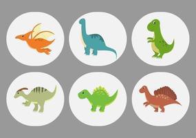 Cute Dinosaurs Cartoon Characters Illustration as Spinosaurus, Parasaurolophus, Stegosaurus, Tyrannosaurus, Pterodactyl, and Diplodocus vector