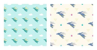 Cute Cartoon Characters Pterodactyl Dinosaurs With Seamless Pattern To Wallpaper Background, Posters, or Banner Template. Vector Illustration