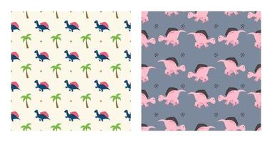Cute Cartoon Characters Stegosaurus Dinosaurs With Seamless Pattern To Wallpaper Background, Posters, or Banner Template. Vector Illustration