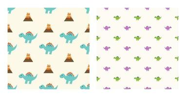 Cute Cartoon Characters Spinosaurus Dinosaurs With Seamless Pattern To Wallpaper Background, Posters, or Banner Template. Vector Illustration
