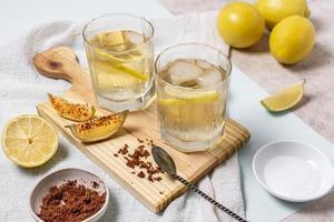 Cocktails with lemon garnish photo