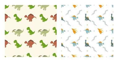Cute Cartoon Dinosaurs Seamless Pattern as Spinosaurus, Parasaurolophus, Stegosaurus, Tyrannosaurus, Pterodactyl, and Diplodocus To Wallpaper Background or Posters. Illustration vector
