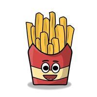 Ilustración de diseño de plantilla de vector de personaje de papas fritas lindo