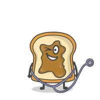 cute toast character vector design template illustration