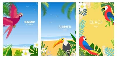 Set of vacation summer cards. Flat design vector illustration. Summer holidays and beach vacation things and items. Design with exotic leaves, flowers, palms and bird.