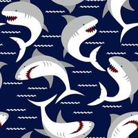 Angry shark seamless pattern. Sea life hand drawn Illustration. Print for child's clothes. vector