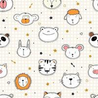 Conjunto de cabezas de animales divertidos sin costura de ilustraciones vectoriales. elemento de diseño, tarjetas con caras dibujadas a mano de animales salvajes en dibujos animados. vector